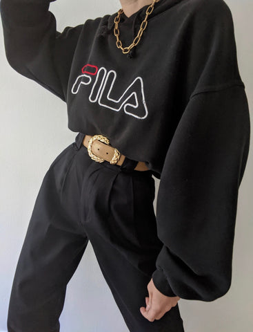 Vintage Black FILA Hooded Sweatshirt