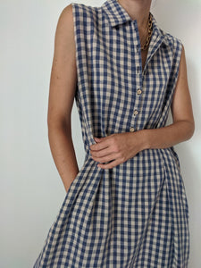Vintage Navy and Taupe Gingham Dress