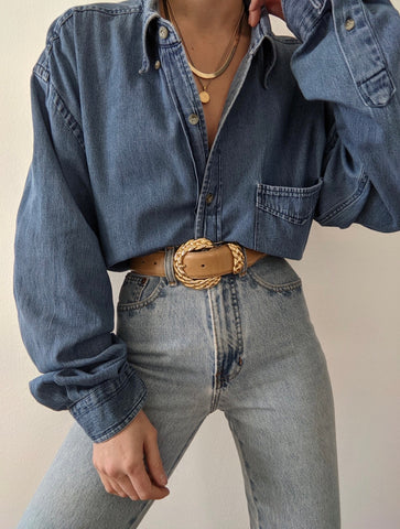 Vintage Faded Denim Button Up