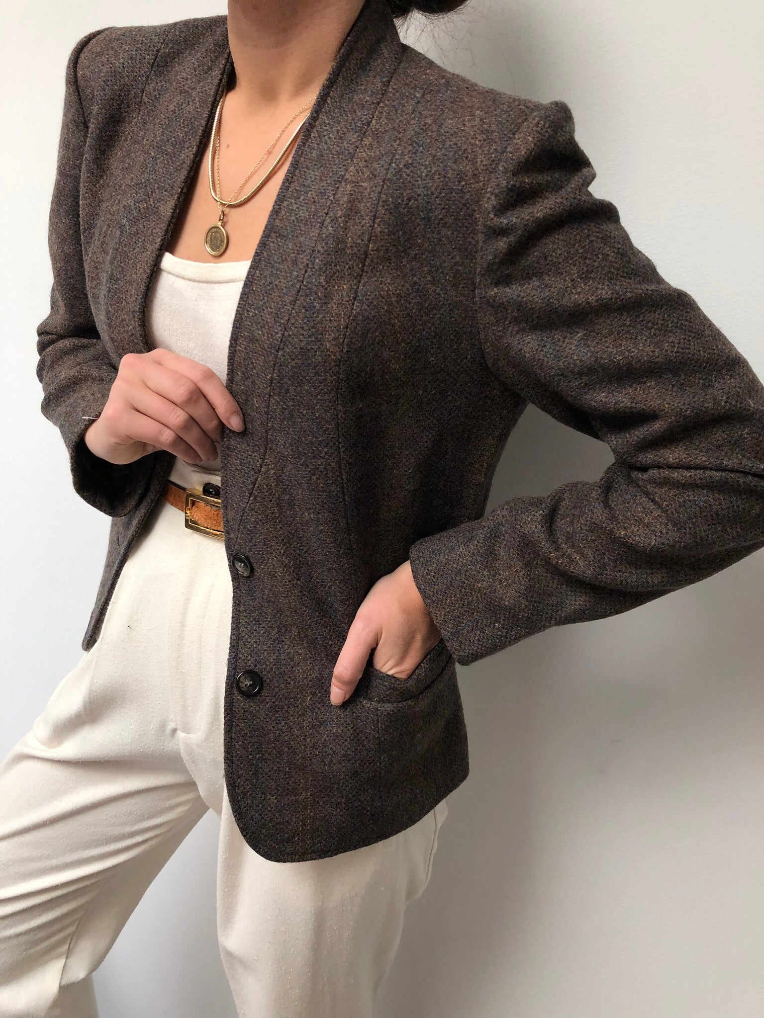 Vintage Muted Striped Wool Knit Blazer
