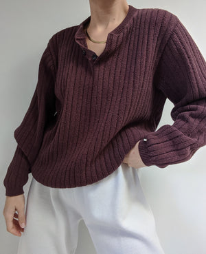 Vintage Burgundy Ribbed Cotton Henley Sweater