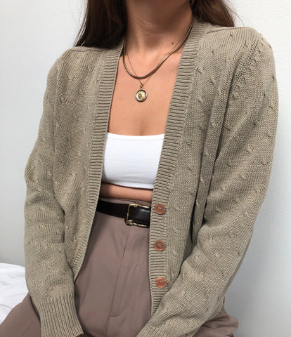Vintage Taupe Cable Knit Detail Cardigan