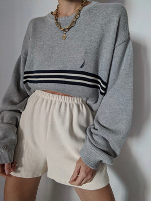 Grey Stripe Nautica Knit Sweater