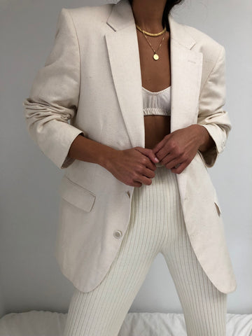 Vintage Cream Raw Silk Blazer