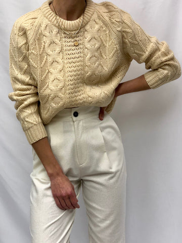 Vintage Cream Fisherman Knit Wool Sweater