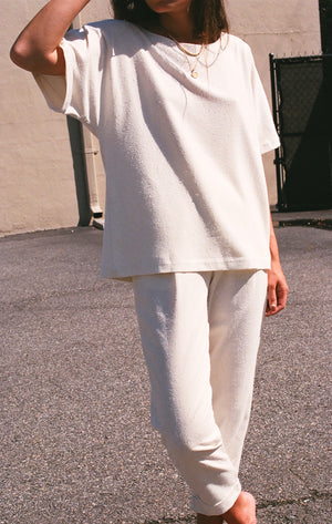 Na Nin Raw Silk Naomi Relaxed Tee / Available in Cream & Black