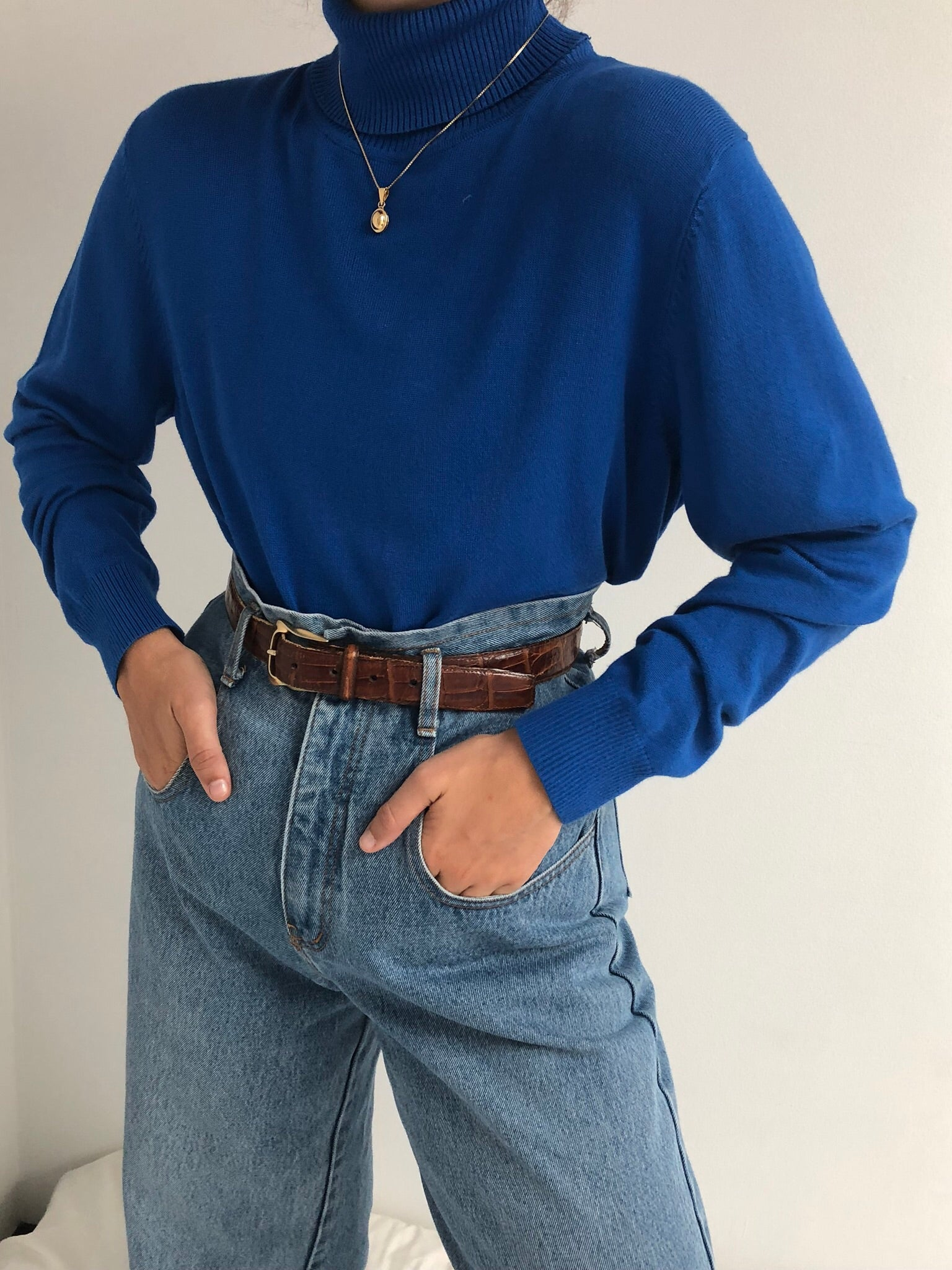 Vintage Cobalt Knit Turtleneck
