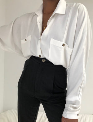 Na Nin Gwen Relaxed Rayon Twill Button Up / Available in White & Black