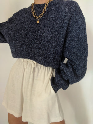 Vintage Marled Blue Wool Knit Sweater