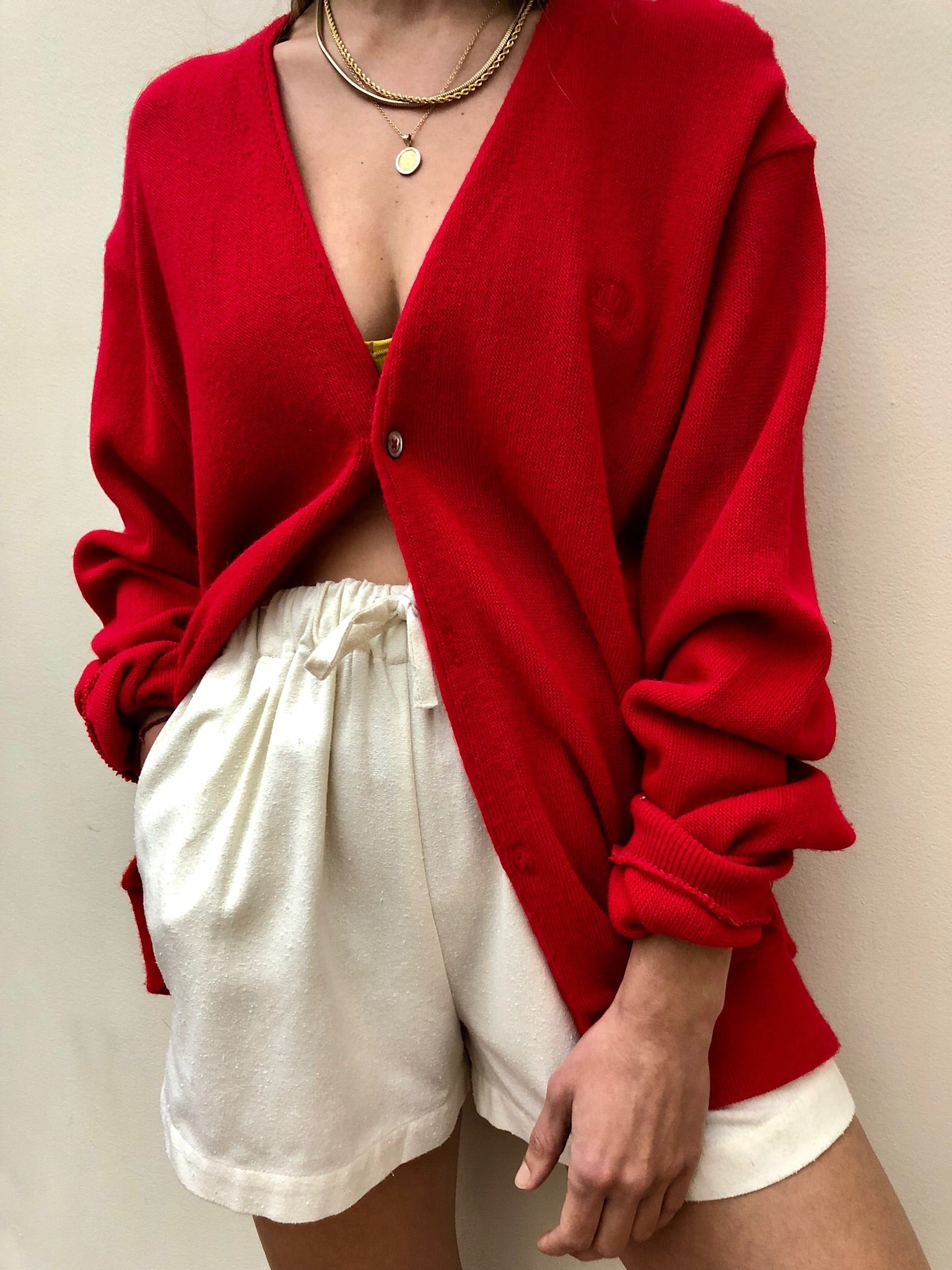Vintage Poppy Knit V-Neck Cardigan