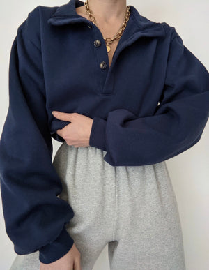 Vintage Navy Henley Pullover