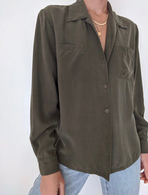 Vintage Faded Olive Silk Button Up