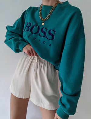 Vintage Teal Boss America Pullover