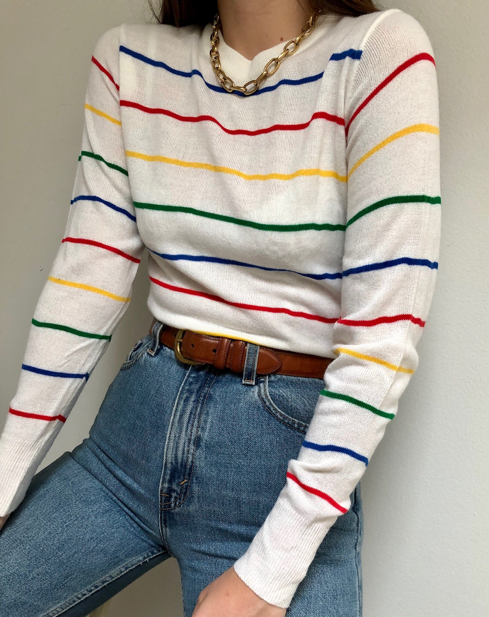 Vintage Primary Color Striped Pullover