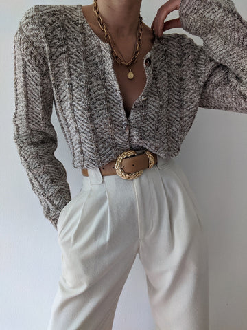 Vintage Cropped Knit Cardigan