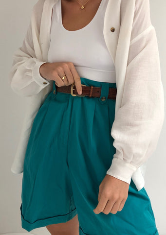 Vintage Aqua Pleated Shorts