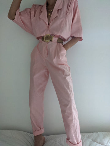 Vintage Faded Melon Coverall Jumpsuit