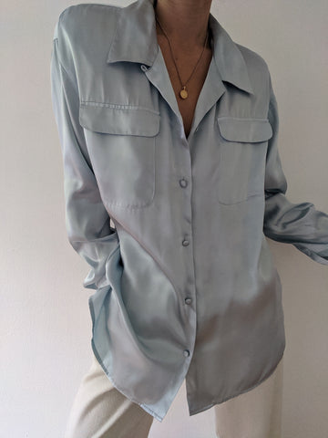 Vintage Blue Ice Satin Blouse