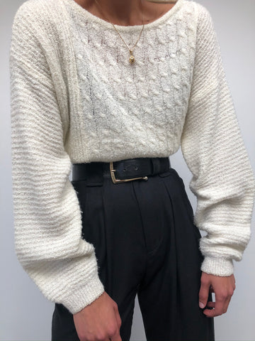 Vintage Cream Cable Knit Pullover