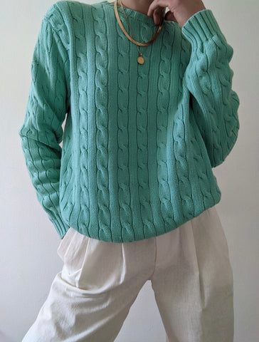 Ralph Lauren Aqua Cable Knit Sweater