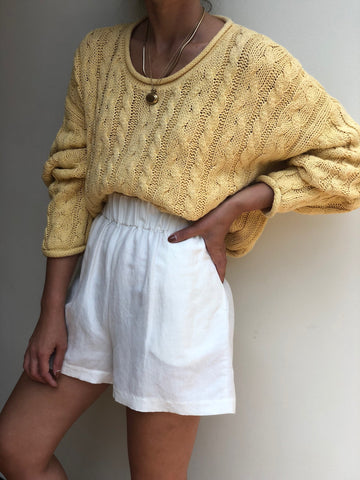 Vintage Marigold Cable Knit Pullover