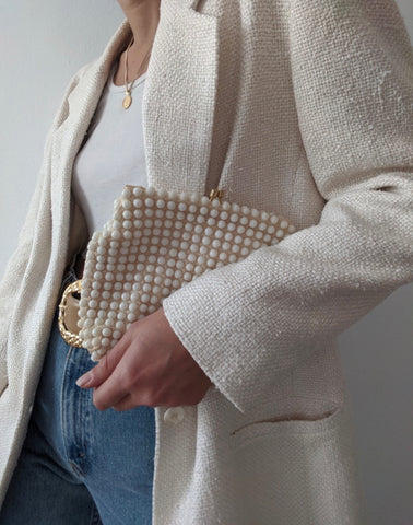 Vintage Cream Pearl Clutch
