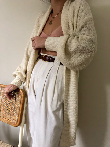 Vintage Cream Textured Duster