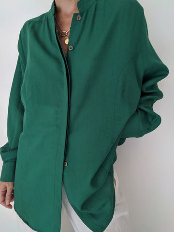 Vintage Kelly Green Wool Button Up