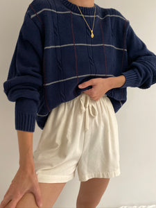 Vintage Navy Patterned Pullover