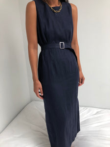 Vintage Navy Linen Belted Dress