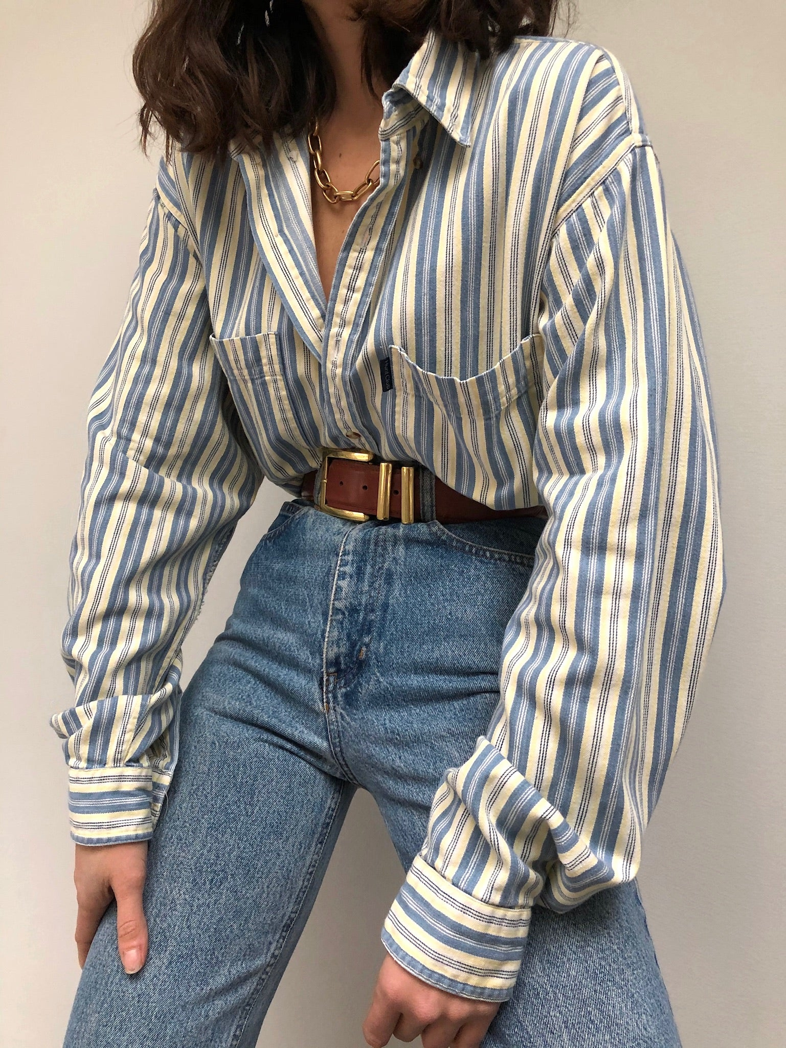 Vintage Lemon Striped Button Up