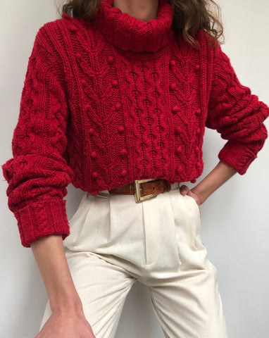 Vintage Raspberry Pom Pom Turtleneck Sweater