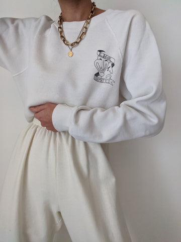 Vintage Cream Graphic Pullover
