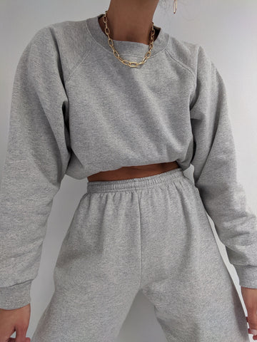 Na Nin Sloane Cotton Crewneck Sweatshirt / Available in Heather Grey