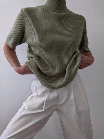 Vintage Sage Ribbed Mock Neck