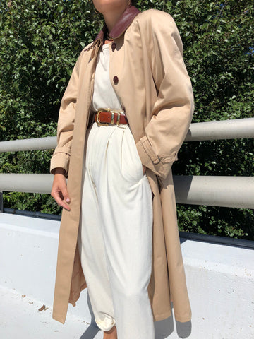 Vintage Sand Leather Collar Trench Coat