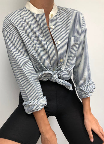 Vintage Classic Cotton Collarless Button up Blouse