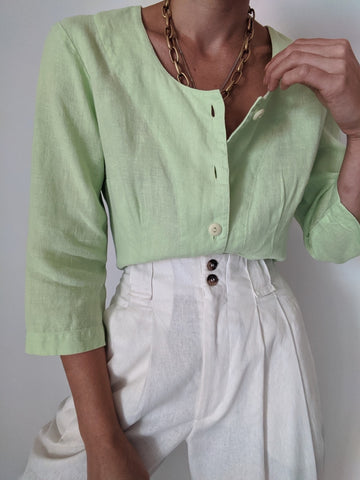 Flax Mint Green Button Up