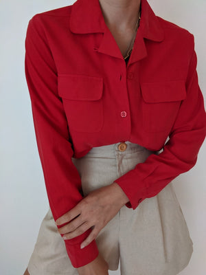 Vintage Cherry Silk Button Up