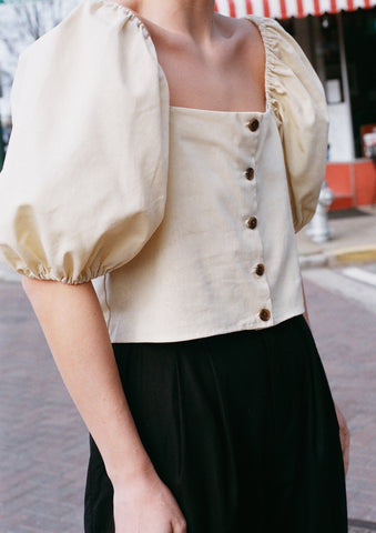 Na Nin Linen Cotton Fiona Top / Available in Camel & Sand