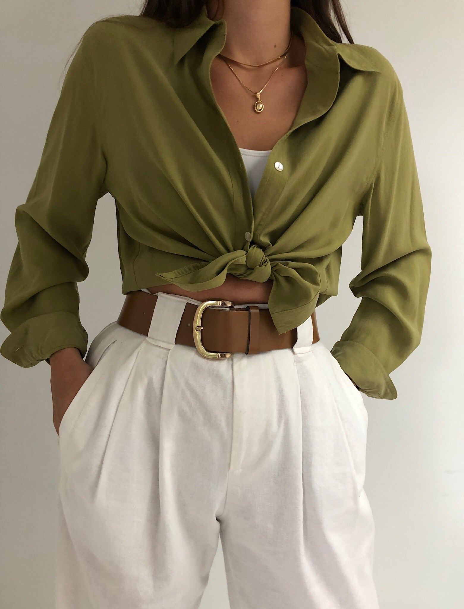 Vintage Olive Green Silk Button Up