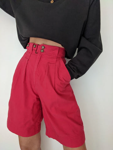 Vintage Faded Red Pleated Shorts