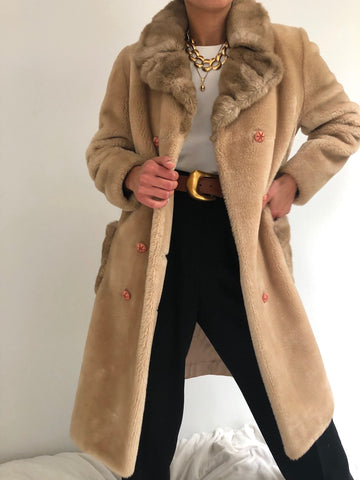 Vintage Sand Faux Fur Coat