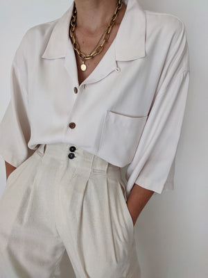 Vintage Cream Silk Button Up
