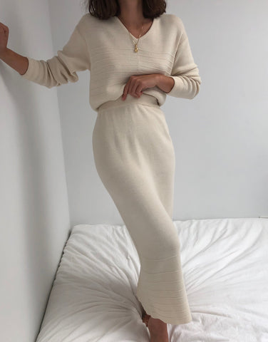 Vintage Cream Wool Knit Skirt Set