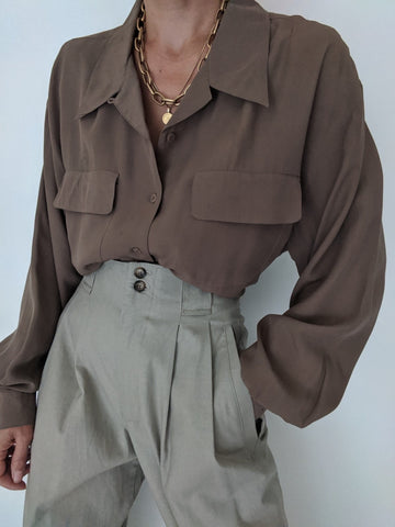 Vintage Taupe Textured Silk Button Up