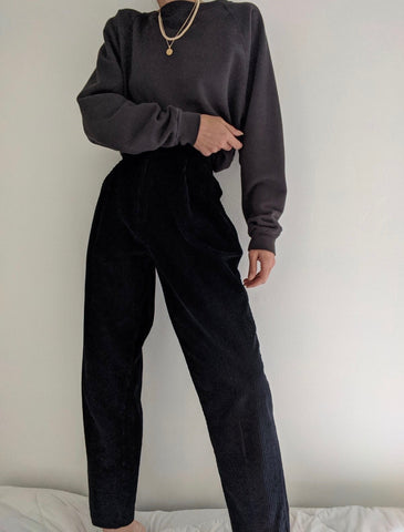 Vintage Black Pleated Corduroy Trousers