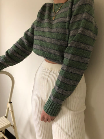 Vintage Moss and Dove Grey Striped Wool Sweater