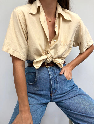 Vintage Butter Silk Button Up
