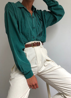 Vintage Jade Pleated Silk Blouse